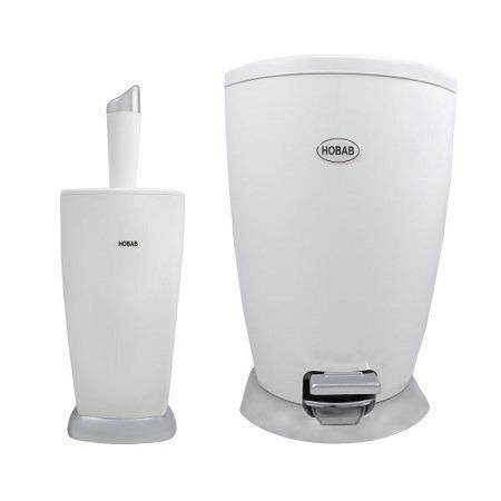 سطل و فرچه دستشویی سفید کروم